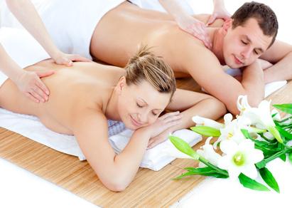 Loving young couple enjoying a back massage